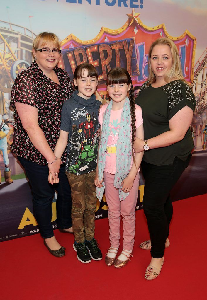 Corina Stone, Aoife Stone, Orla Stone and Sue Jordan at the special family preview screening of The Nut Job 2 at The Odeon Cinema in Point Village, Dublin. Picture by Brian McEvoy