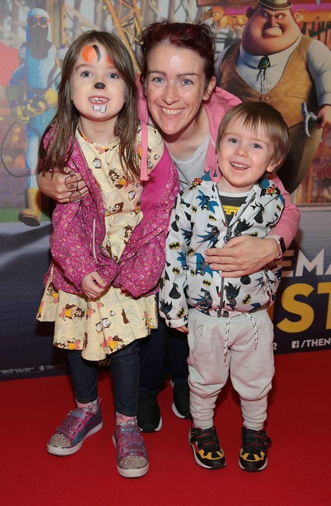 Aoife Curtis, Cian Curtis and Catherine Curtis at the special family preview screening of The Nut Job 2 at The Odeon Cinema in Point Village, Dublin. Picture by Brian McEvoy