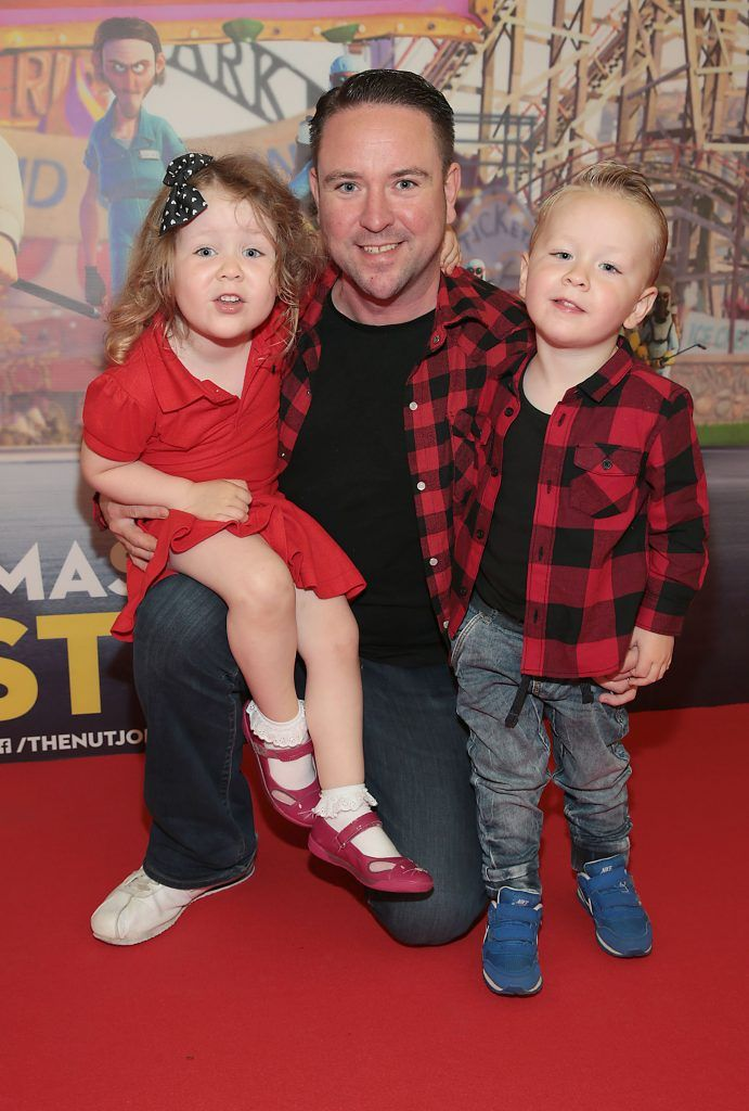Blaise Stafford, Leon Stafford and Savannah Stafford at the special family preview screening of The Nut Job 2 at The Odeon Cinema in Point Village, Dublin. Picture by Brian McEvoy