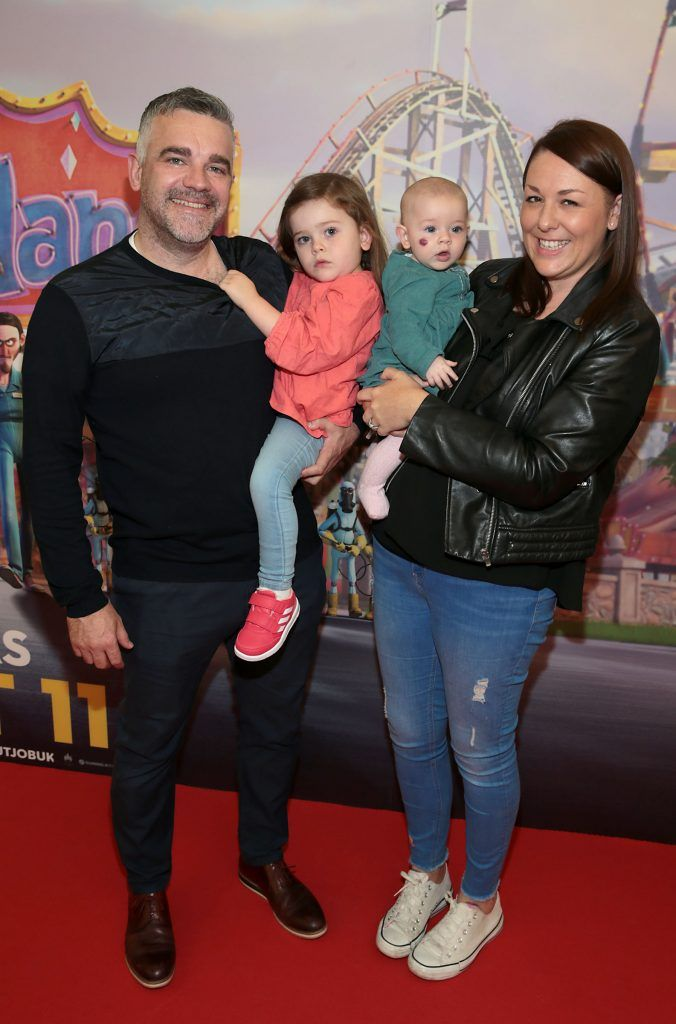 Leon Chapman, Summer Chapman, Jenny Chapman and Madison Chapman at the special family preview screening of The Nut Job 2 at The Odeon Cinema in Point Village, Dublin. Picture by Brian McEvoy