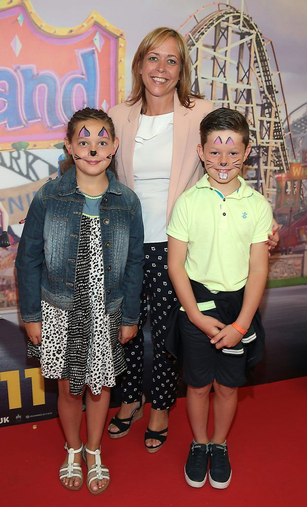 Jennife Kavanagh, Ella Kavanagh and Dylan Kavanagh at the special family preview screening of The Nut Job 2 at The Odeon Cinema in Point Village, Dublin. Picture by Brian McEvoy