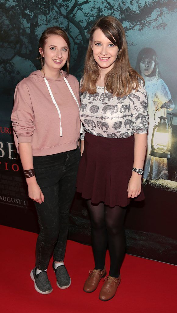 Megan Laney and Niamh Crosby at the special preview screening of Annabelle: Creation at Cineworld, Dublin. Picture: Brian McEvoy