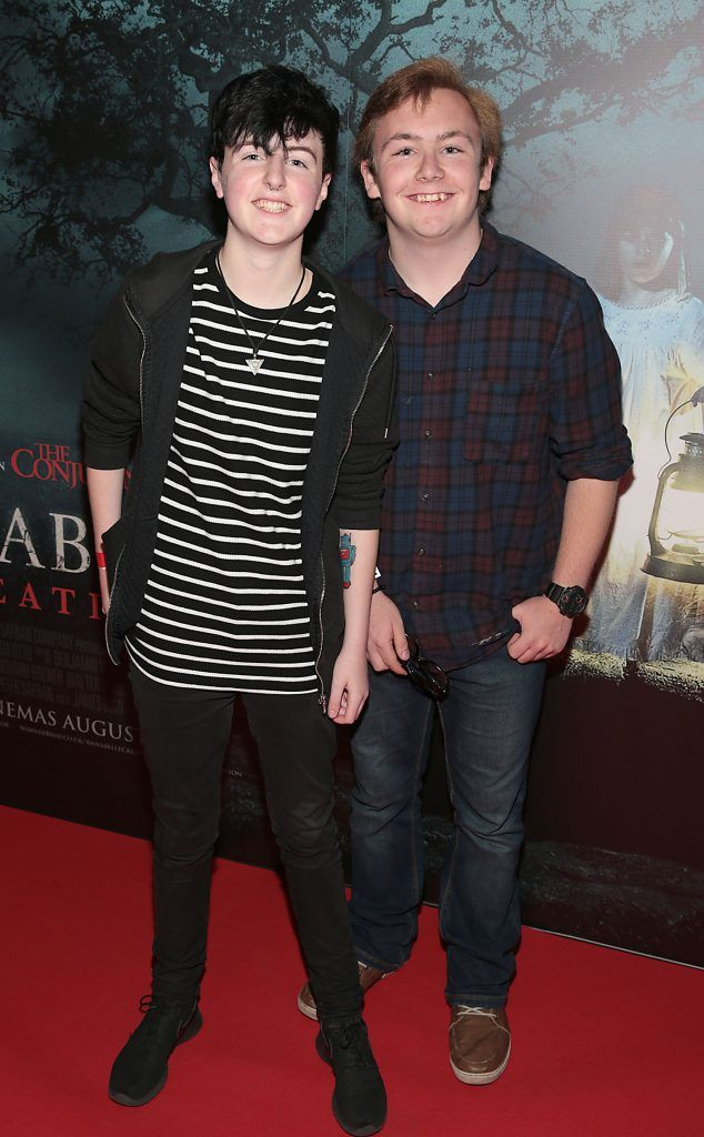 Jack Lennon and Edward Tierney at the special preview screening of Annabelle: Creation at Cineworld, Dublin. Picture: Brian McEvoy