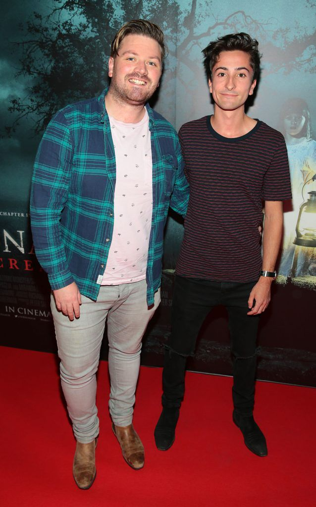 Thomas Crosse and Duncan Menzies at the special preview screening of Annabelle: Creation at Cineworld, Dublin. Picture: Brian McEvoy