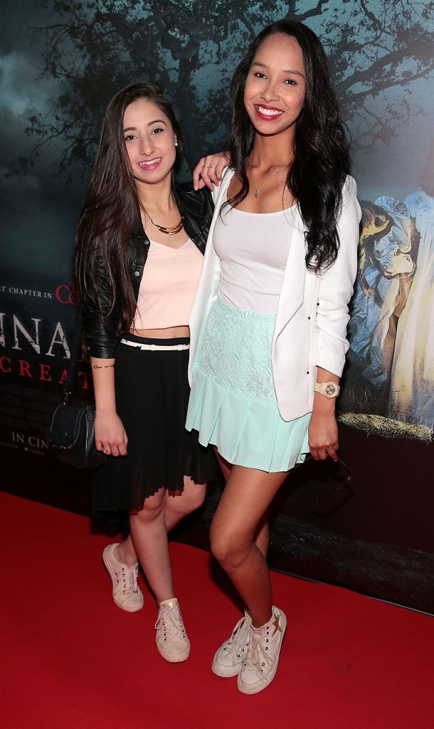 Emille Rosa and Gigi Rocha at the special preview screening of Annabelle: Creation at Cineworld, Dublin. Picture: Brian McEvoy