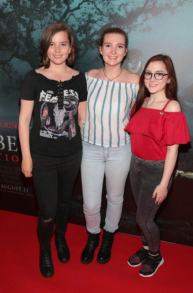 Robyn Casey, Leah Casey and Jenny O Hanlon at the special preview screening of Annabelle: Creation at Cineworld, Dublin. Picture: Brian McEvoy