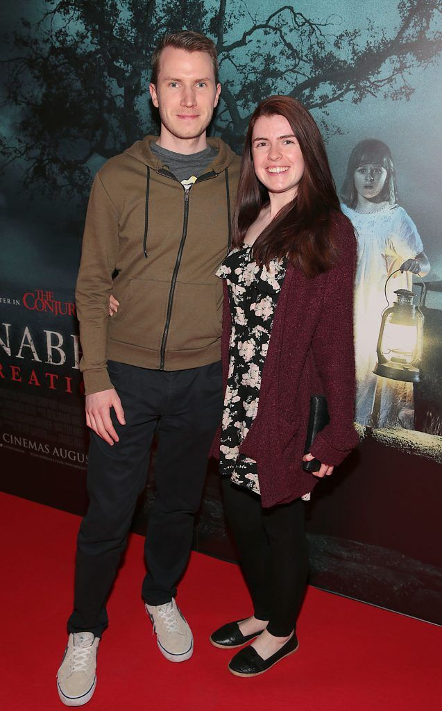 Ciaran Murphy and Karen Conroy at the special preview screening of Annabelle: Creation at Cineworld, Dublin. Picture: Brian McEvoy