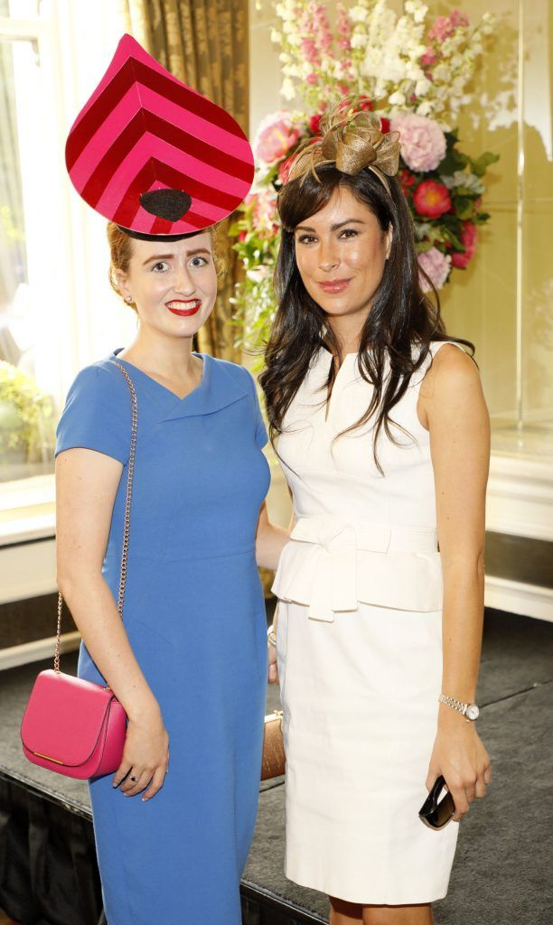 Aoife Sharkey and Sarah Hayden at the Most Stylish Lady at The Shelbourne Hotel in association with IMAGE Magazine-photo Kieran Harnett