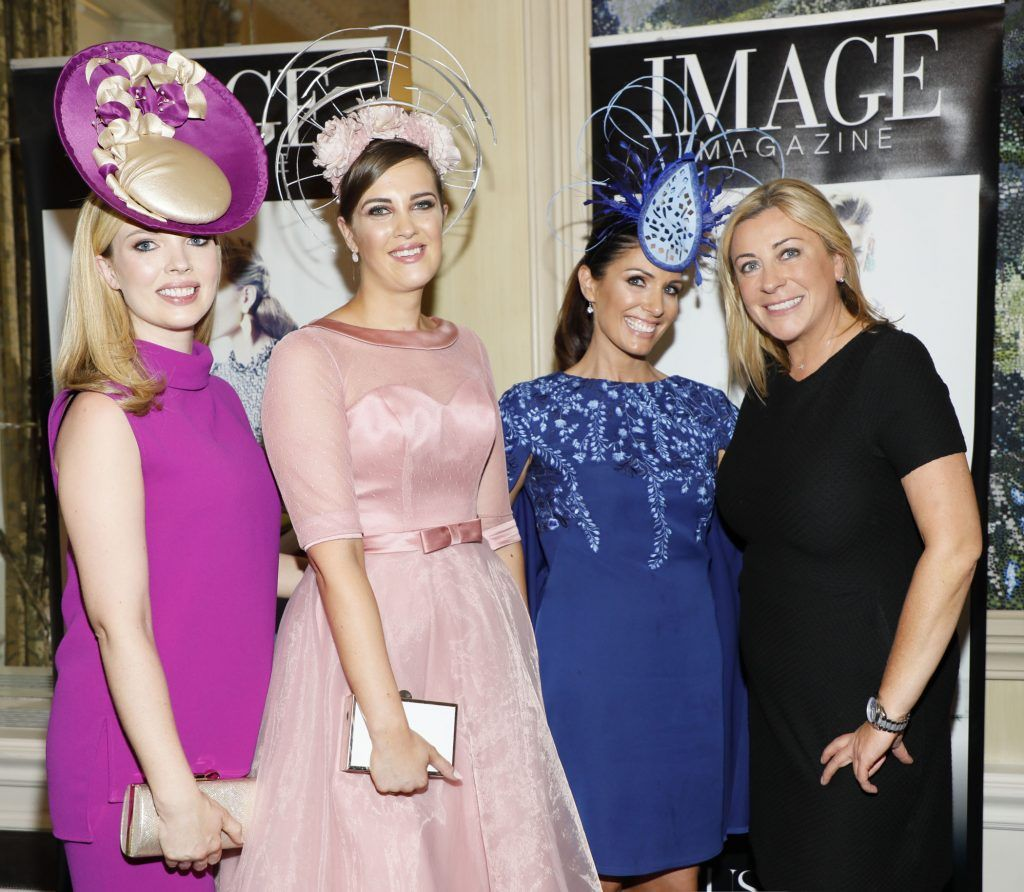 Laura O'Hanlon 3rd place, winner Alex Butler, Nicola Grant 2nd place and Yvonne Donohue at the Most Stylish Lady at The Shelbourne-photo Kieran Harnett