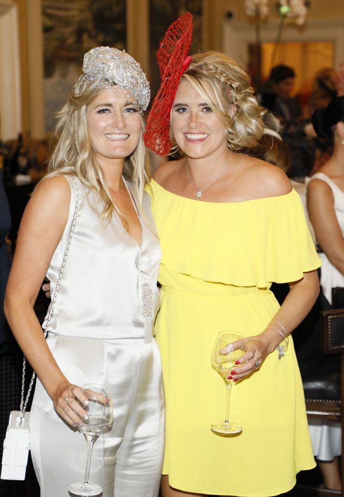 Naoise Pelin and Sarah Clancy at the Most Stylish Lady at The Shelbourne Hotel in association with IMAGE Magazine-photo Kieran Harnett