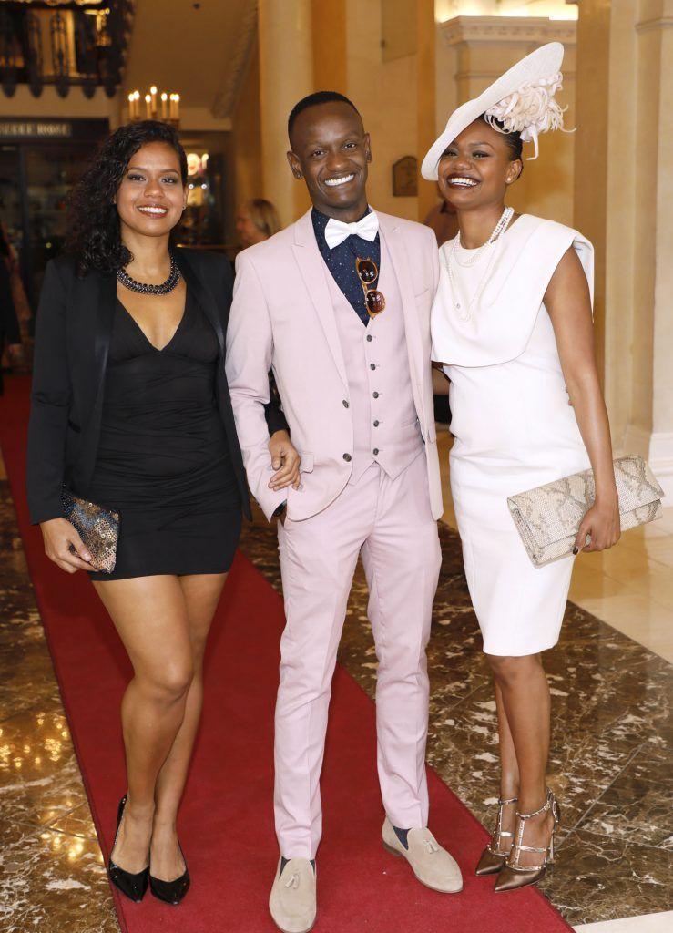 Carola Ferreira, Everton Da Silva and Aline Santos at the Most Stylish Lady at The Shelbourne Hotel in association with IMAGE Magazine-photo Kieran Harnett