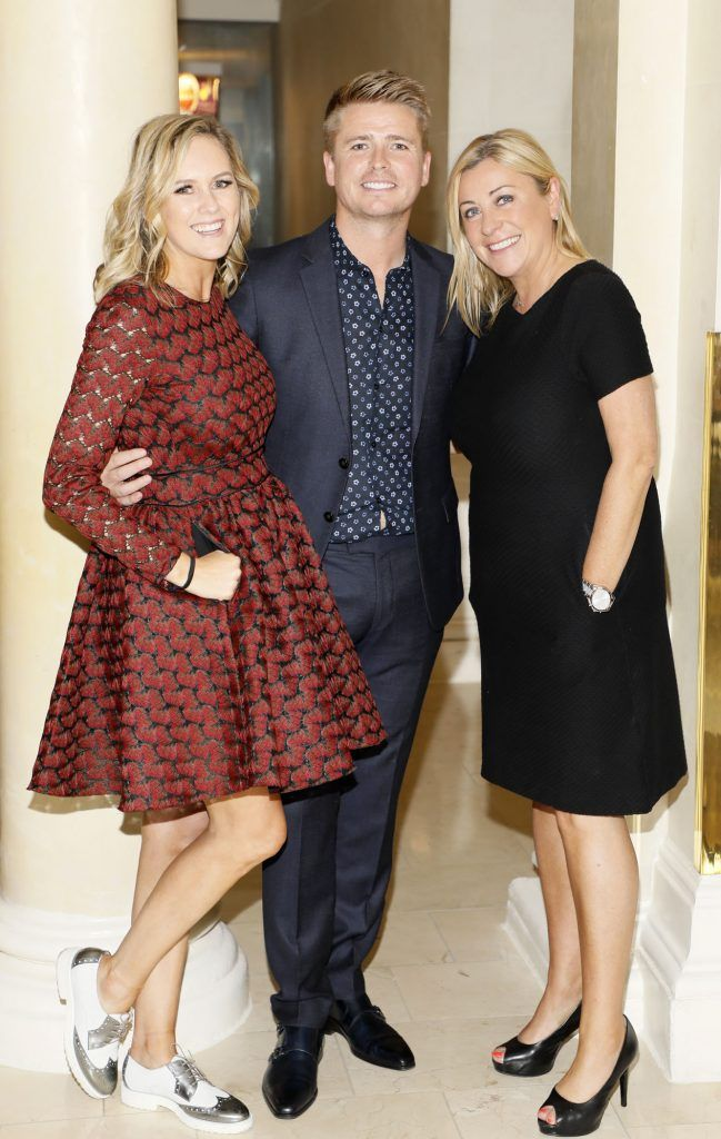 Cassie Stokes, Brian Ormond and Yvonne Donohue at the Most Stylish Lady at The Shelbourne Hotel in association with IMAGE Magazine-photo Kieran Harnett