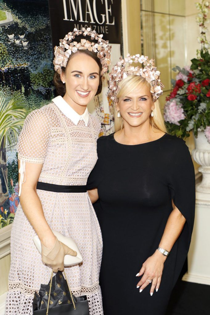 Hannah Cross and Melanie Morris at the Most Stylish Lady at The Shelbourne Hotel in association with IMAGE Magazine-photo Kieran Harnett