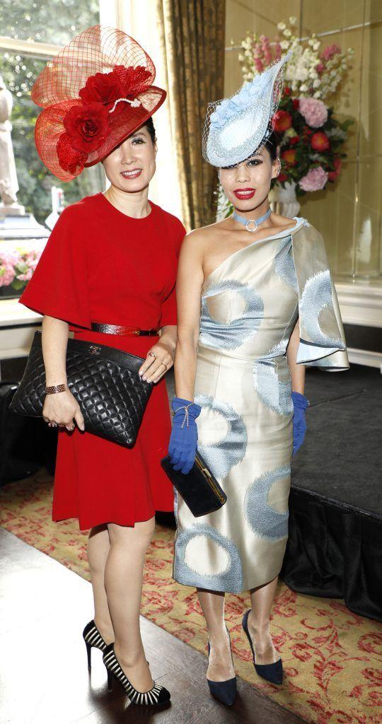 Ima Dolan and Jae Tourish at the Most Stylish Lady at The Shelbourne Hotel in association with IMAGE Magazine-photo Kieran Harnett