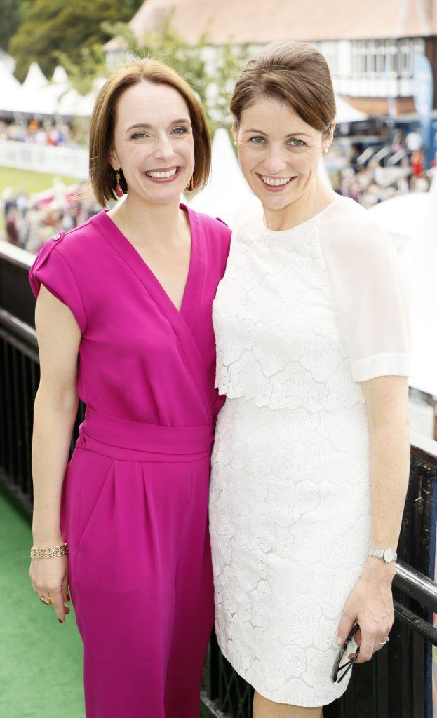 Aideen Hennessy and Valerie Hourigan at the Dundrum Town Centre Ladies Day at The Dublin Horse Show in the RDS -photo Kieran Harnett