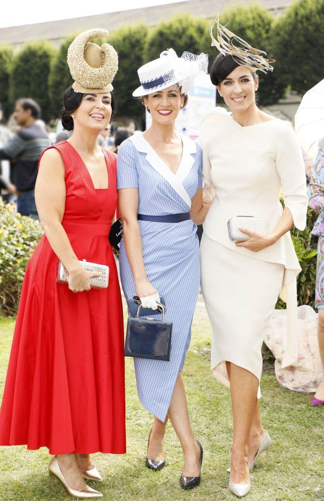 Elaine De Roiste, Rebecca Rose Quigley and Lisa McGowan at the Dundrum Town Centre Ladies Day at The Dublin Horse Show in the RDS -photo Kieran Harnett