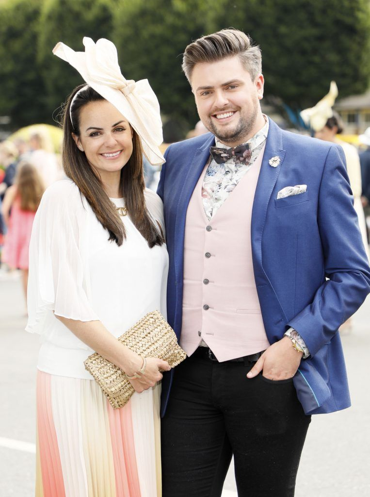 Astrid Brennan and James Patrice at the Dundrum Town Centre Ladies Day at The Dublin Horse Show in the RDS -photo Kieran Harnett