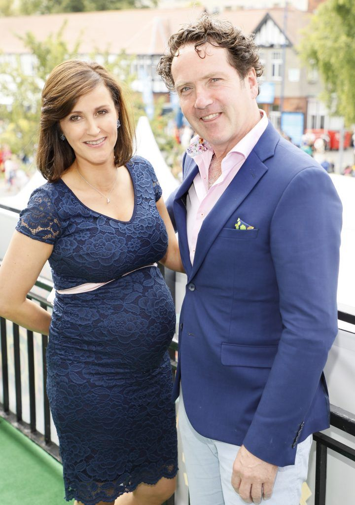 Claire-Ann Minogue and Diarmuid Gavin at the Dundrum Town Centre Ladies Day at The Dublin Horse Show in the RDS -photo Kieran Harnett