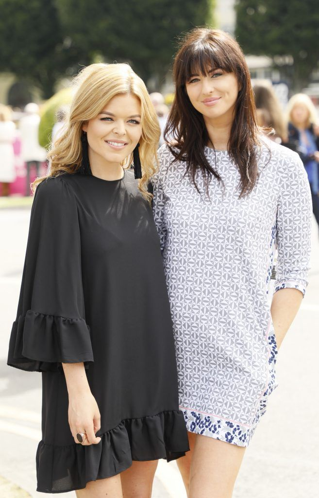 Doireann Garrihy and Suzie Griffin at the Dundrum Town Centre Ladies Day at The Dublin Horse Show in the RDS -photo Kieran Harnett