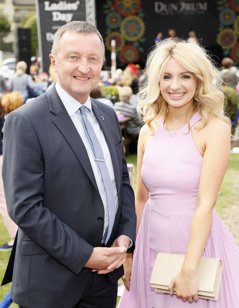 Don Nugent and Laura Bergin at the Dundrum Town Centre Ladies Day at The Dublin Horse Show in the RDS -photo Kieran Harnett