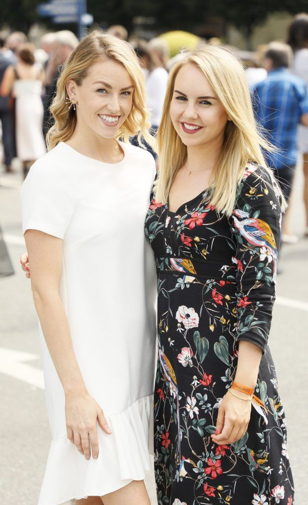 Lia Stokes and Katie Allen at the Dundrum Town Centre Ladies Day at The Dublin Horse Show in the RDS -photo Kieran Harnett