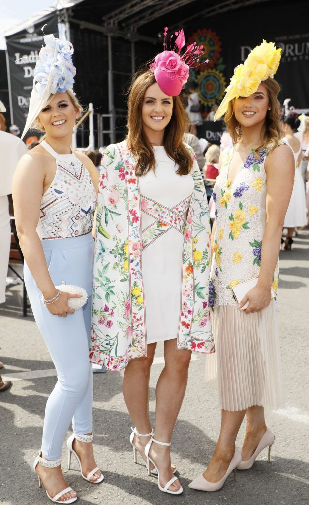Lisa Crosbie, Stephanie Meegan and Michelle McParland at the Dundrum Town Centre Ladies Day at The Dublin Horse Show in the RDS -photo Kieran Harnett