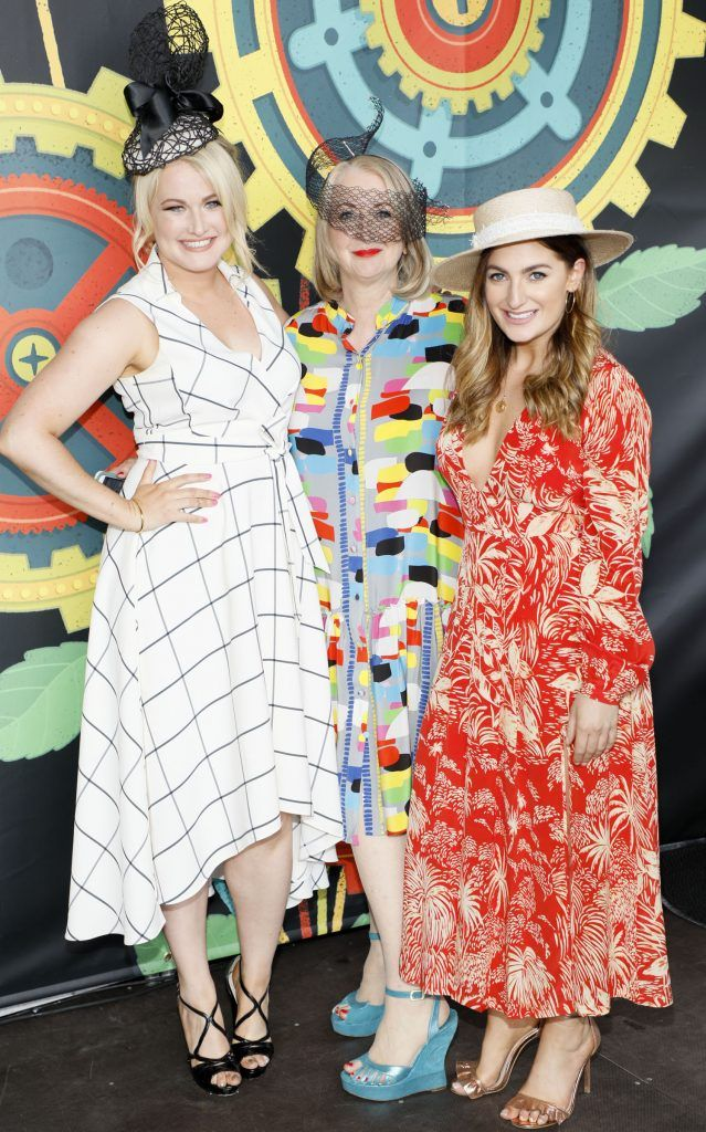 Lorna Weightman, Bairbre Power and Courtney Smith at the Dundrum Town Centre Ladies Day at The Dublin Horse Show in the RDS -photo Kieran Harnett