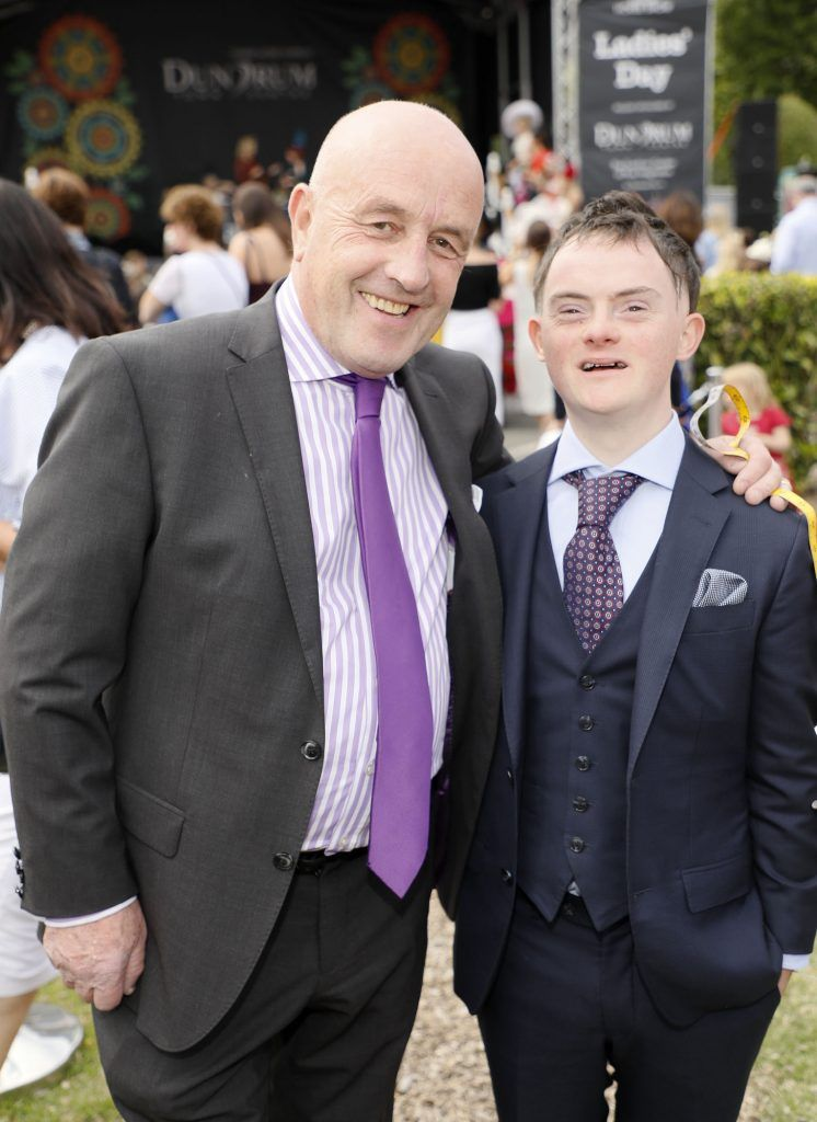 Louis Copeland with Brian Kidd winner of the Style and Attitude prize at the Dundrum Town Centre Ladies Day at The Dublin Horse Show in the RDS -photo Kieran Harnett