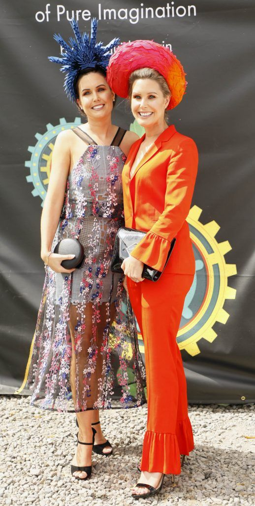 Oniesa Owens and Aisling Hoare at the Dundrum Town Centre Ladies Day at The Dublin Horse Show in the RDS -photo Kieran Harnett