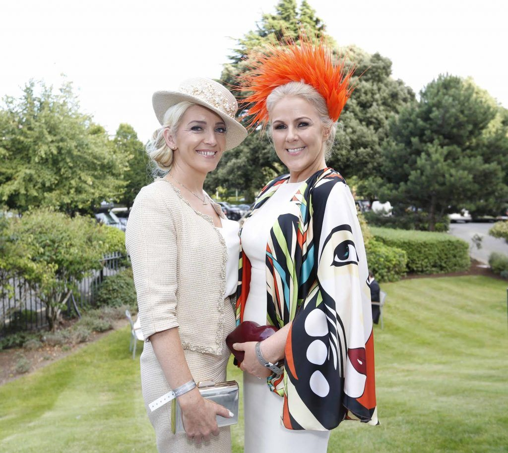 Elaine Kelleher and Mary Stapleton Foley at InterContinental Dublin following the Dublin Horse Show for the hotel's inaugural 'Continentally Classic' Best Dressed Lady competition, judged by stylist Bairbre Power and Nicky Logue, General Manager of InterContinental Dublin. Photo: Sasko Lazarov/Photocall Ireland