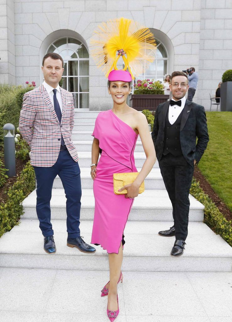 Nicky Logue, Best Dressed Lady Linda Malone and Best Dressed Man Stewart Montgomery at InterContinental Dublin following the Dublin Horse Show for the hotel's inaugural 'Continentally Classic' Best Dressed Lady competition, judged by stylist Bairbre Power and Nicky Logue, General Manager of InterContinental Dublin. Photo: Sasko Lazarov/Photocall Ireland