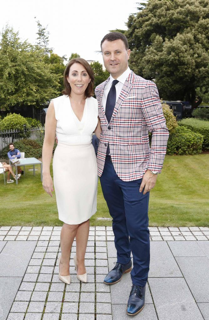 Ciara Hanley and Nicky Logue at InterContinental Dublin following the Dublin Horse Show for the hotel's inaugural 'Continentally Classic' Best Dressed Lady competition, judged by stylist Bairbre Power and Nicky Logue, General Manager of InterContinental Dublin. Photo: Sasko Lazarov/Photocall Ireland