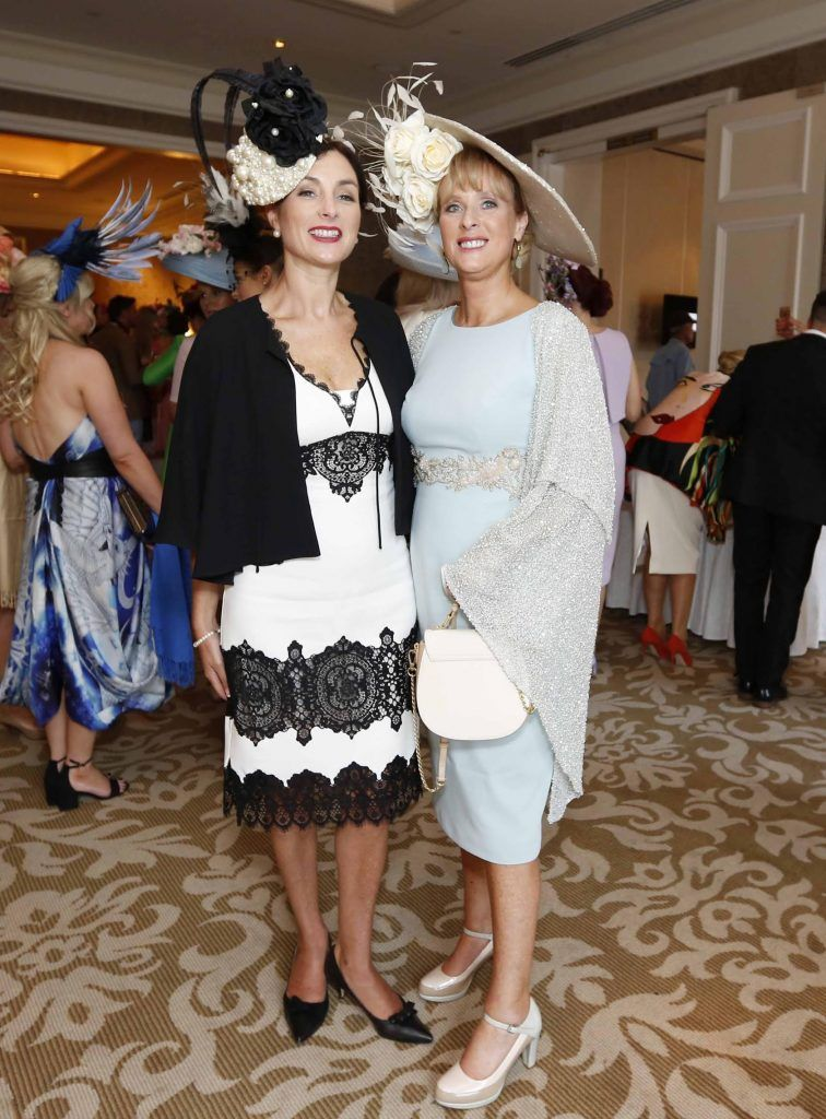 Marie Loughran and Claire Murphy at InterContinental Dublin following the Dublin Horse Show for the hotel's inaugural 'Continentally Classic' Best Dressed Lady competition, judged by stylist Bairbre Power and Nicky Logue, General Manager of InterContinental Dublin. Photo: Sasko Lazarov/Photocall Ireland