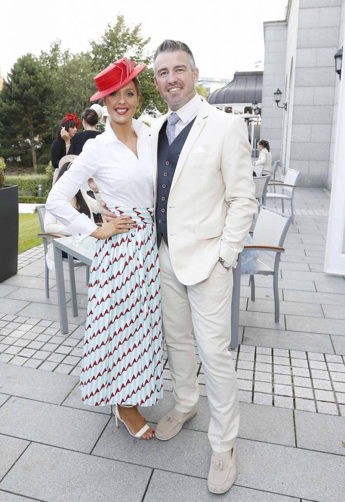 Gavin Fleet and Aoibheann McMonagle at InterContinental Dublin following the Dublin Horse Show for the hotel's inaugural 'Continentally Classic' Best Dressed Lady competition, judged by stylist Bairbre Power and Nicky Logue, General Manager of InterContinental Dublin. Photo: Sasko Lazarov/Photocall Ireland