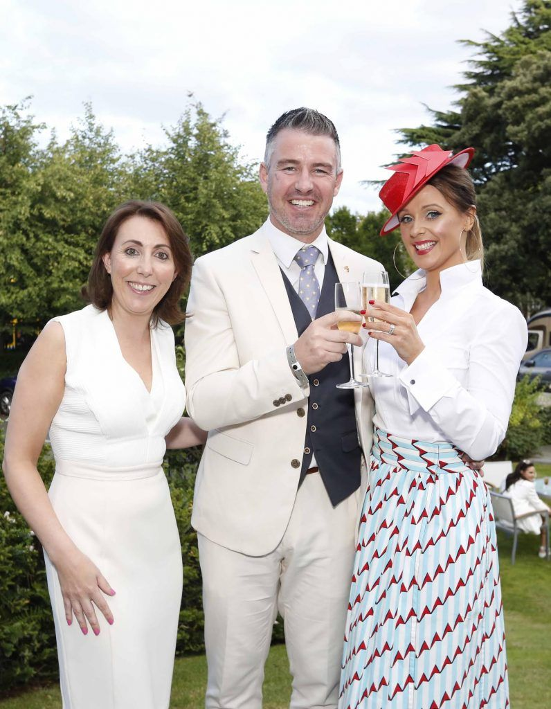 Ciara Hanley, Gavin Fleet and Aoibheann McMonagle at InterContinental Dublin following the Dublin Horse Show for the hotel's inaugural 'Continentally Classic' Best Dressed Lady competition, judged by stylist Bairbre Power and Nicky Logue, General Manager of InterContinental Dublin. Photo: Sasko Lazarov/Photocall Ireland