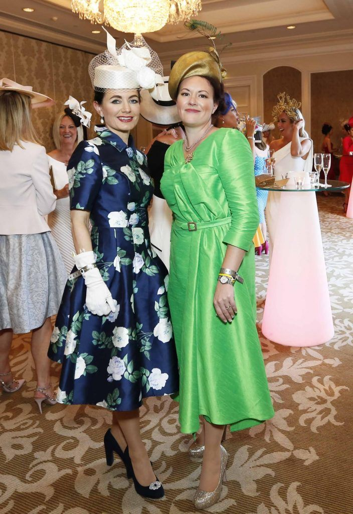 Deirdre Kane and Lianne O'Shea at InterContinental Dublin following the Dublin Horse Show for the hotel's inaugural 'Continentally Classic' Best Dressed Lady competition, judged by stylist Bairbre Power and Nicky Logue, General Manager of InterContinental Dublin. Photo: Sasko Lazarov/Photocall Ireland