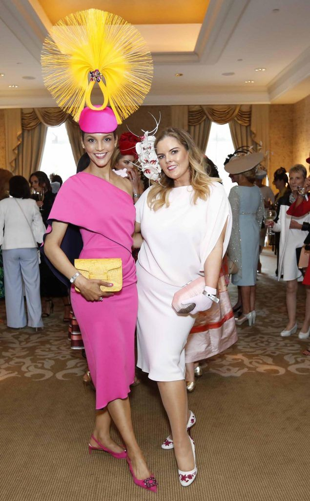 Linda Malone and Georgina Kane at InterContinental Dublin following the Dublin Horse Show for the hotel's inaugural 'Continentally Classic' Best Dressed Lady competition, judged by stylist Bairbre Power and Nicky Logue, General Manager of InterContinental Dublin. Photo: Sasko Lazarov/Photocall Ireland