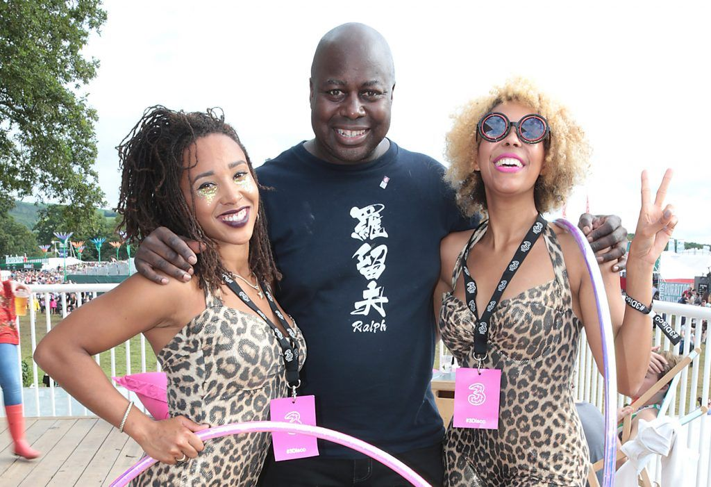 Chic drummer Ralph Rolle with Obe and Tinuke at the #3Disco area at the sold-out three-day festival Electric Picnic at Stradbally, Co. Laois. Picture: Brian McEvoy
