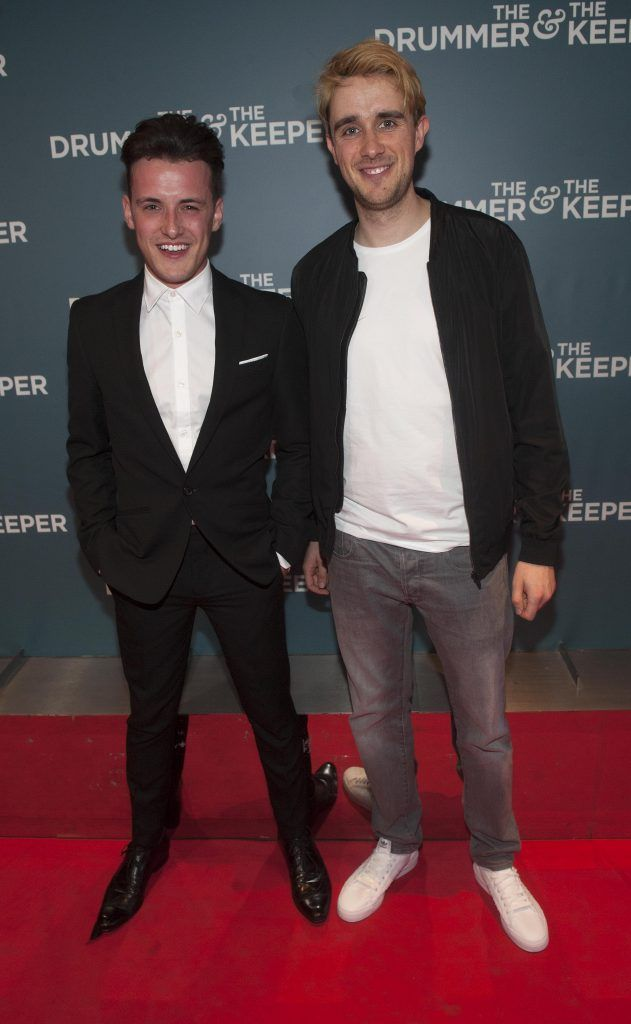 Dale Leadon Bolger and Ciaran Grace at the Irish premiere of The Drummer & The Keeper at the Light House Cinema, Smithfield. Photo by Patrick O'Leary