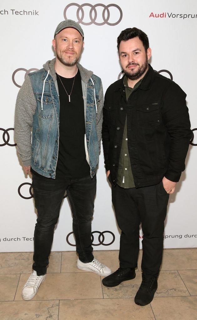 Ryan Sheridan and Ronan Nolan pictured at the all new Audi A8 launch at the RHA Gallery, Dublin. Photo by Brian McEvoy