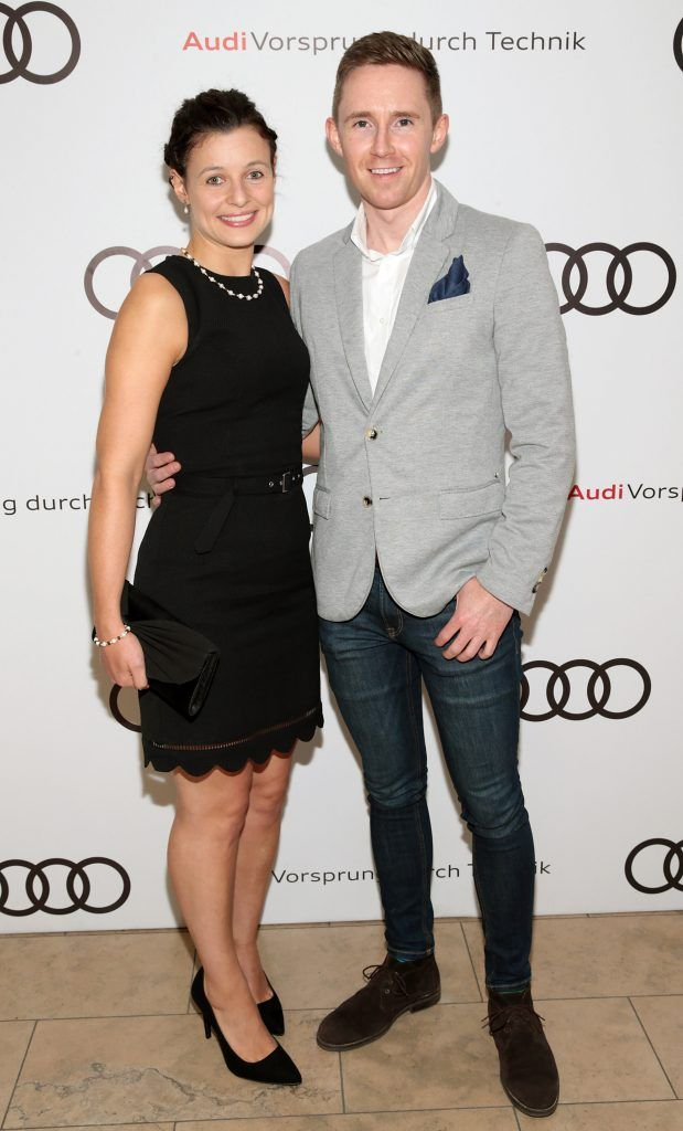 Laura O Keeffe and Darren Kennedy pictured at the all new Audi A8 launch at the RHA Gallery, Dublin. Photo by Brian McEvoy