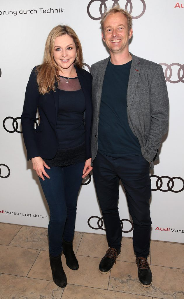 Des English and guest pictured at the all new Audi A8 launch at the RHA Gallery, Dublin. Photo by Brian McEvoy