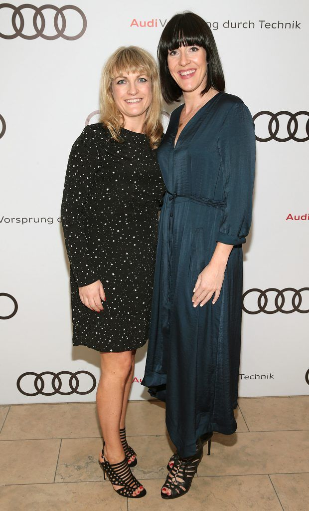 Sarah Liddy and Ellie Balfe pictured at the all new Audi A8 launch at the RHA Gallery, Dublin. Photo by Brian McEvoy