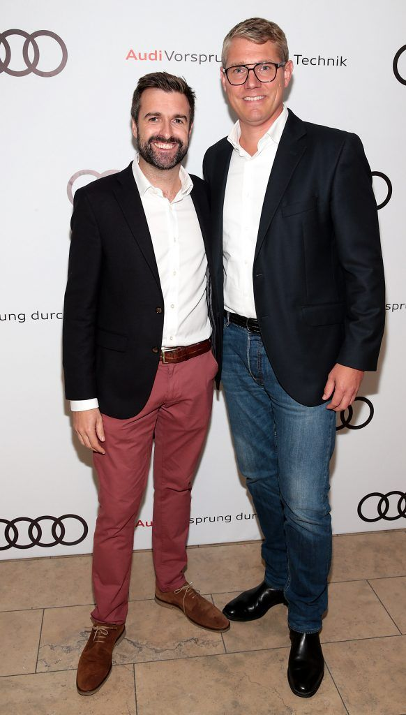 Richard Molloy Head of Marketing & Product at Audi Ireland and  Henning Dohrn, Director Audi Ireland pictured at the all new Audi A8 launch at the RHA Gallery, Dublin. Photo by Brian McEvoy