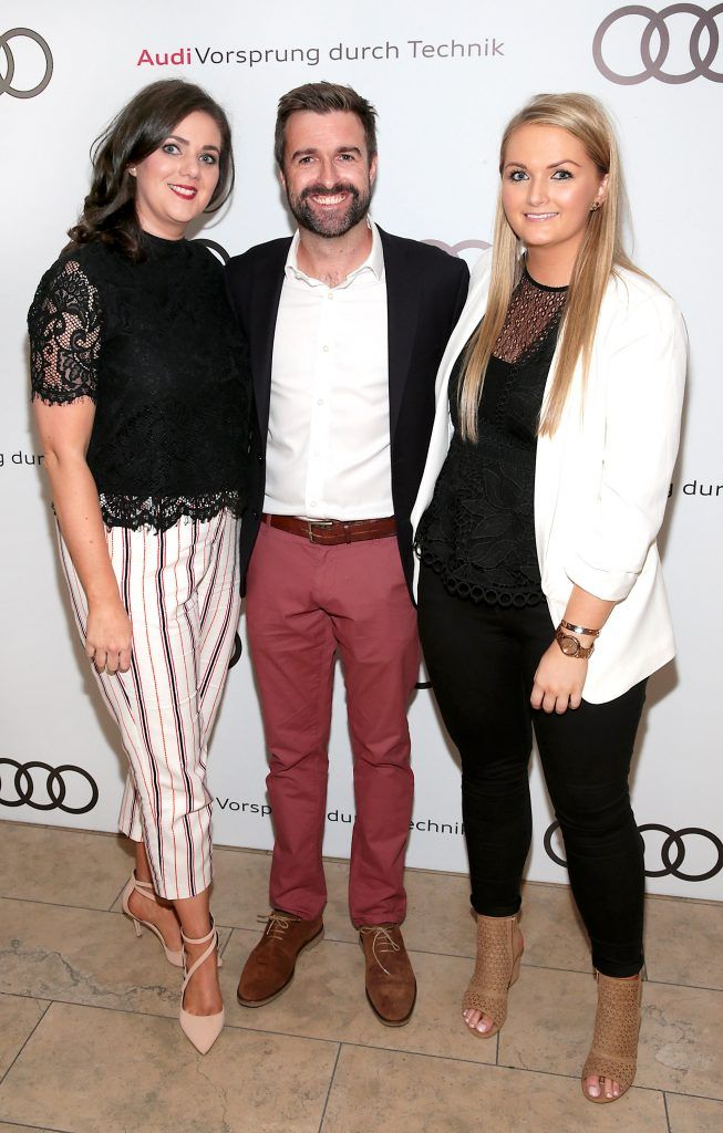 Aine Smyth, Richard Molloy and Leslie Walsh pictured at the all new Audi A8 launch at the RHA Gallery, Dublin. Photo by Brian McEvoy