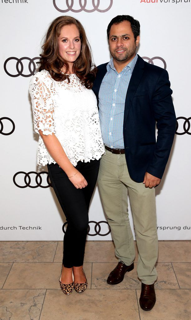 Emma O Farrell and Krishna Naidoo pictured at the all new Audi A8 launch at the RHA Gallery, Dublin. Photo by Brian McEvoy