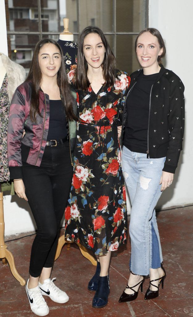 Anna, Grace, and Jenny McGinn at the iclothing.ie Autumn Winter '17 launch held at the Chocolate Factory. Photo Kieran Harnett