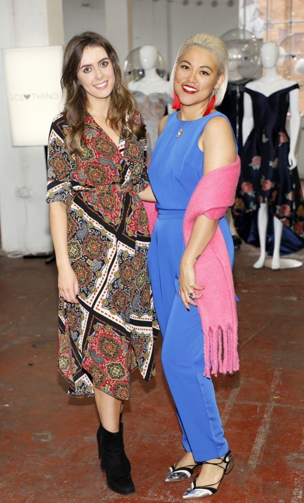 Emma Murray and Juliana Dalez at the iclothing.ie Autumn Winter '17 launch held at the Chocolate Factory. Photo Kieran Harnett