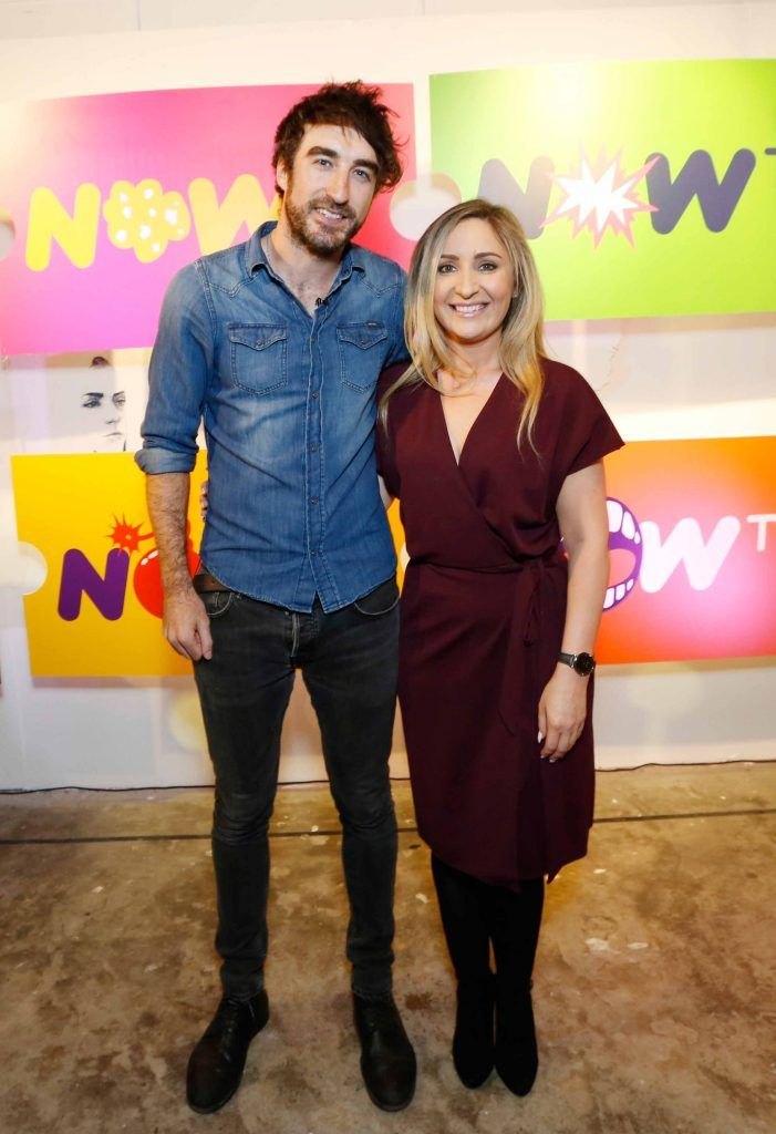 Danny O'Reilly and Sharon McHugh pictured at the #NOWTVArtBattle which took place at Fumbally Exchange as part of this year's Dublin Fringe Festival.