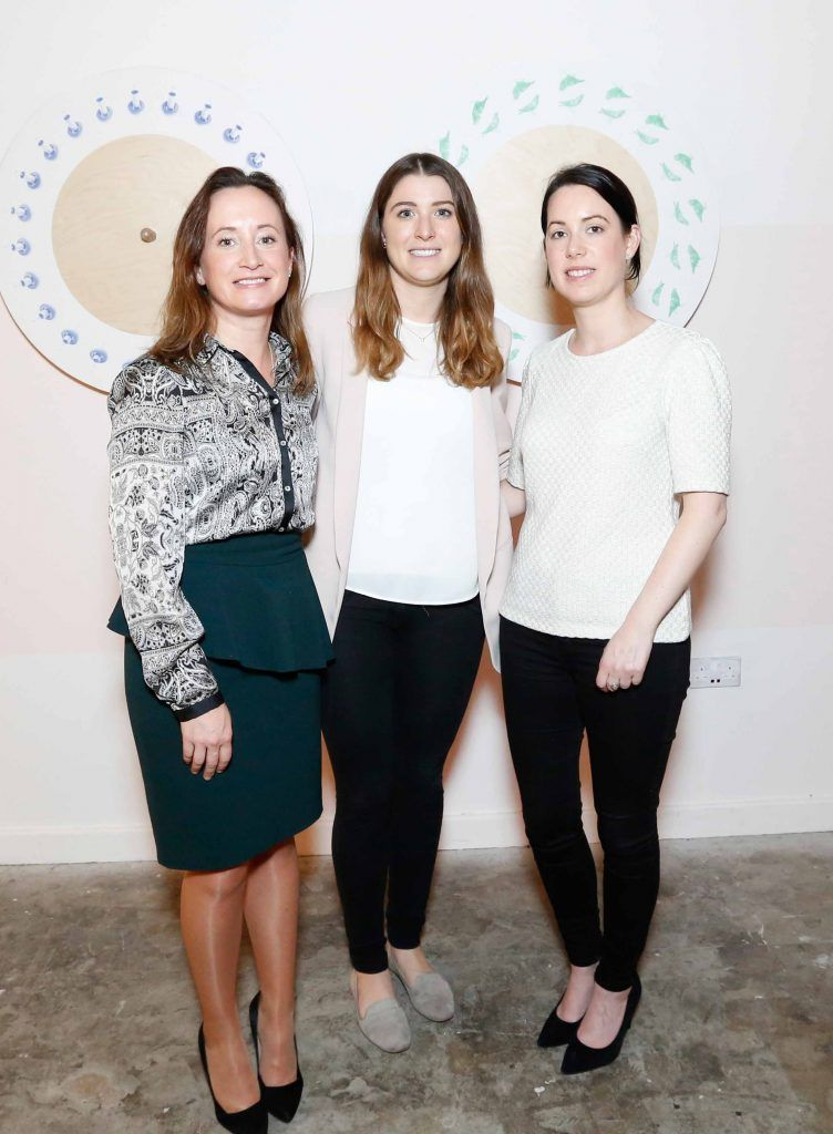 Olivia Naughton, Kate Duffy and Martha Burke pictured at the #NOWTVArtBattle which took place at Fumbally Exchange as part of this year's Dublin Fringe Festival.